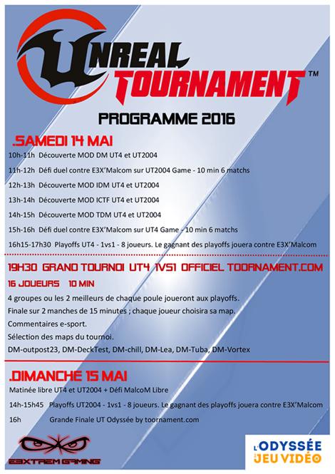 Programme Unreal Tournament, L'Odyssée du Jeu Vidéo 2016
