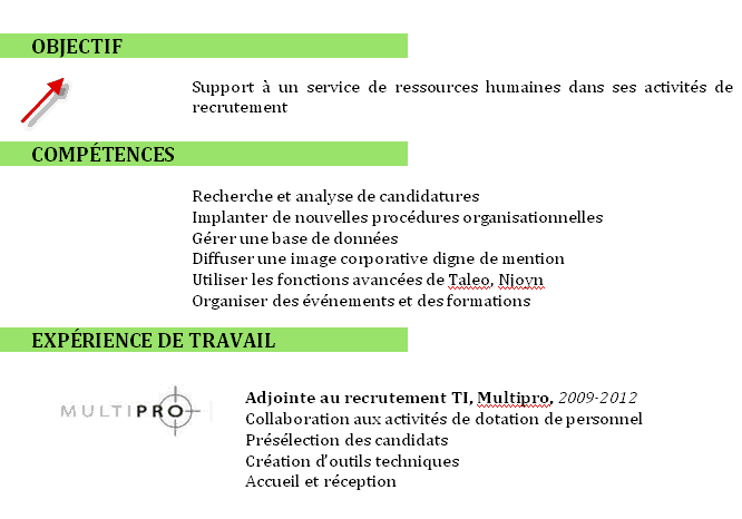 presentation de competences sur cv exemple