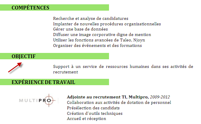 exemple objectif cv employe restauration