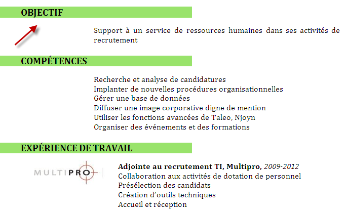 comment organiser competence projet cv