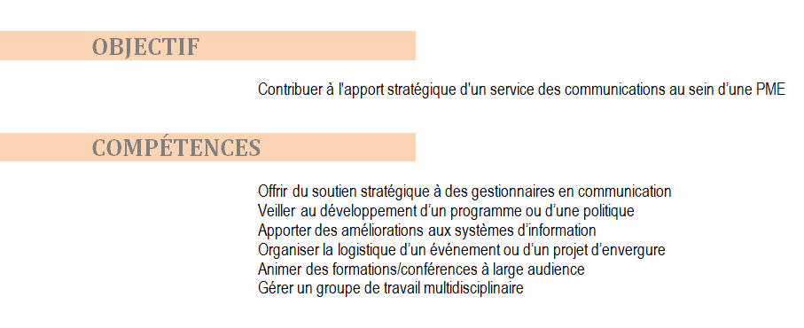 objectif et competence cv