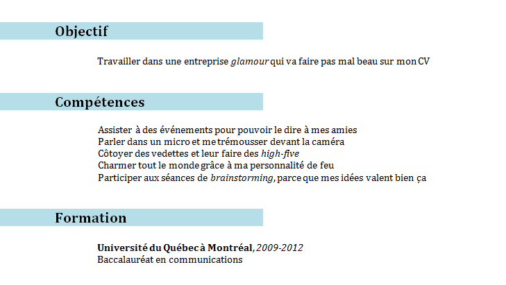 exemple objectif carriere cv finance