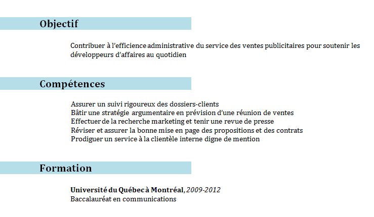 competences professionnelles cv marketing