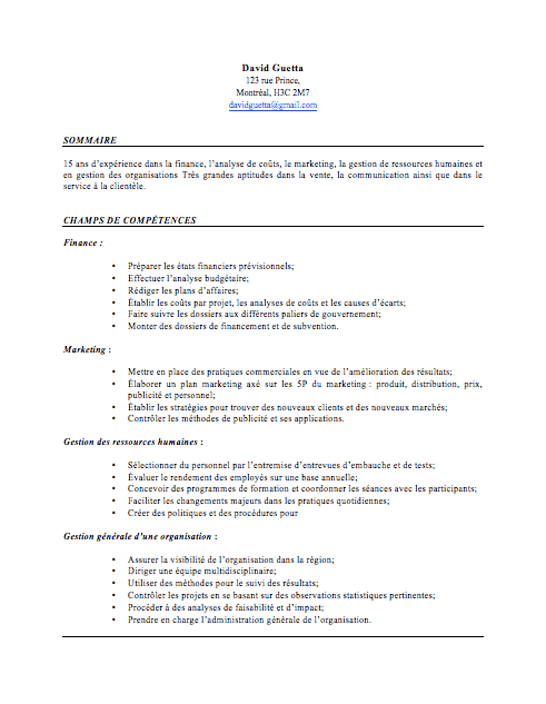 faire cv type finance