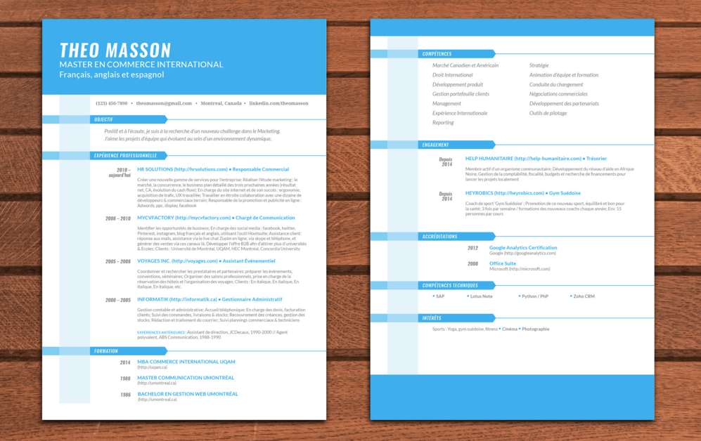 template cv quebec