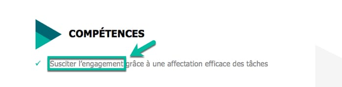 adjectif competence cv