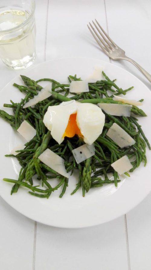 zeekraal groene asperge ei