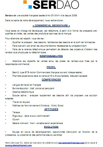 cv commercial sedentaire word
