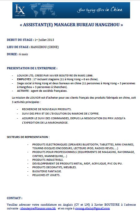 cv en anglais assistant manager word
