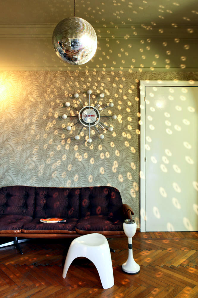 Modern Wall Clock Disco Ball In The Living Room For Your Party At Home