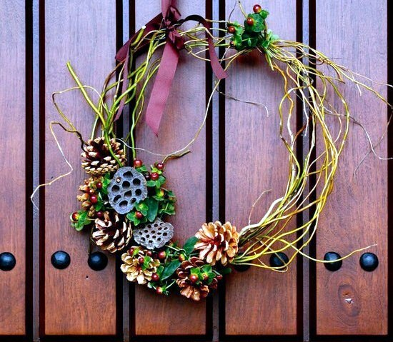 Door Designs With Net Door Wreath From Natural Materials Craft – Decorating Idea