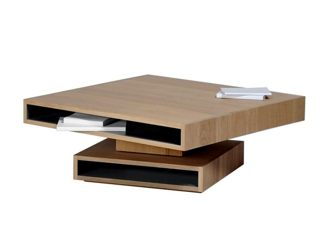 Cubocarré A Coffee Table In Oak With Modern Storage