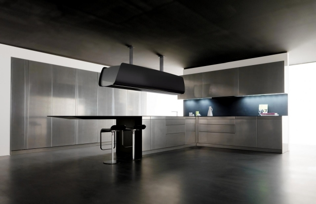 Interior Design For Small Living Room And Dining Room Toncellis Carbon Fiber High-tech Kitchen And Liquid Metal