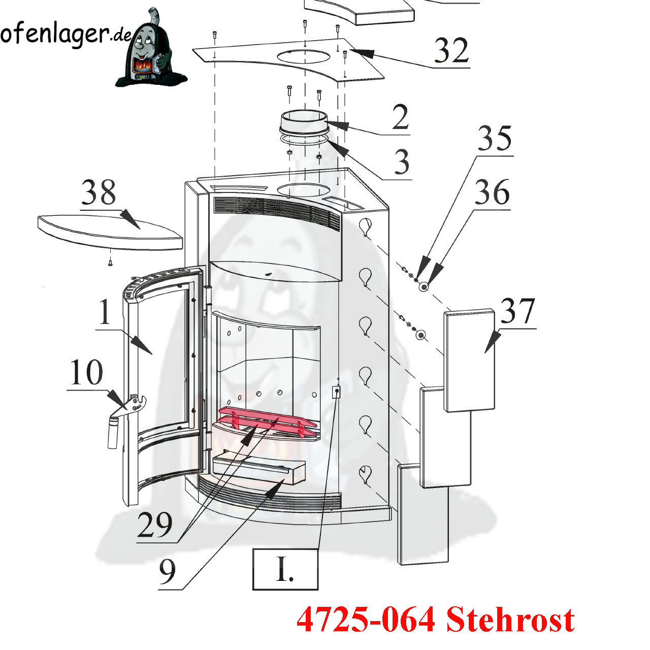 Kaminofen Fireplace Beni 4725 064 Stehrost