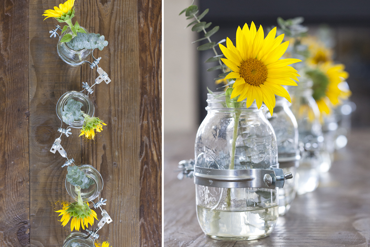 Flower Vase Ideas For Decorating Diy Clamped Mason Jar Vase Centerpiece