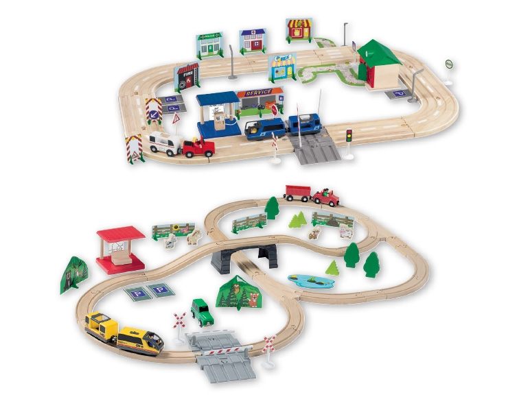 Playtive Junior Wooden Railway Roadway Set Lidl