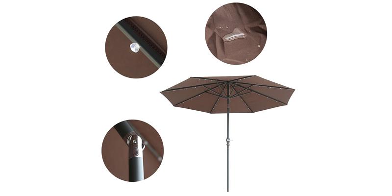 Caymus Led Light Solar Patio Outdoor Aluminum Umbrella