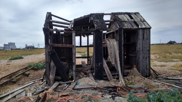 close up of a dilapidated house in Dungeness