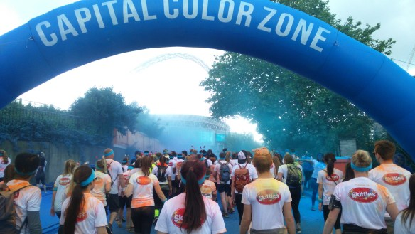 the blue colour station at the Colour Run, Wembley Stadium