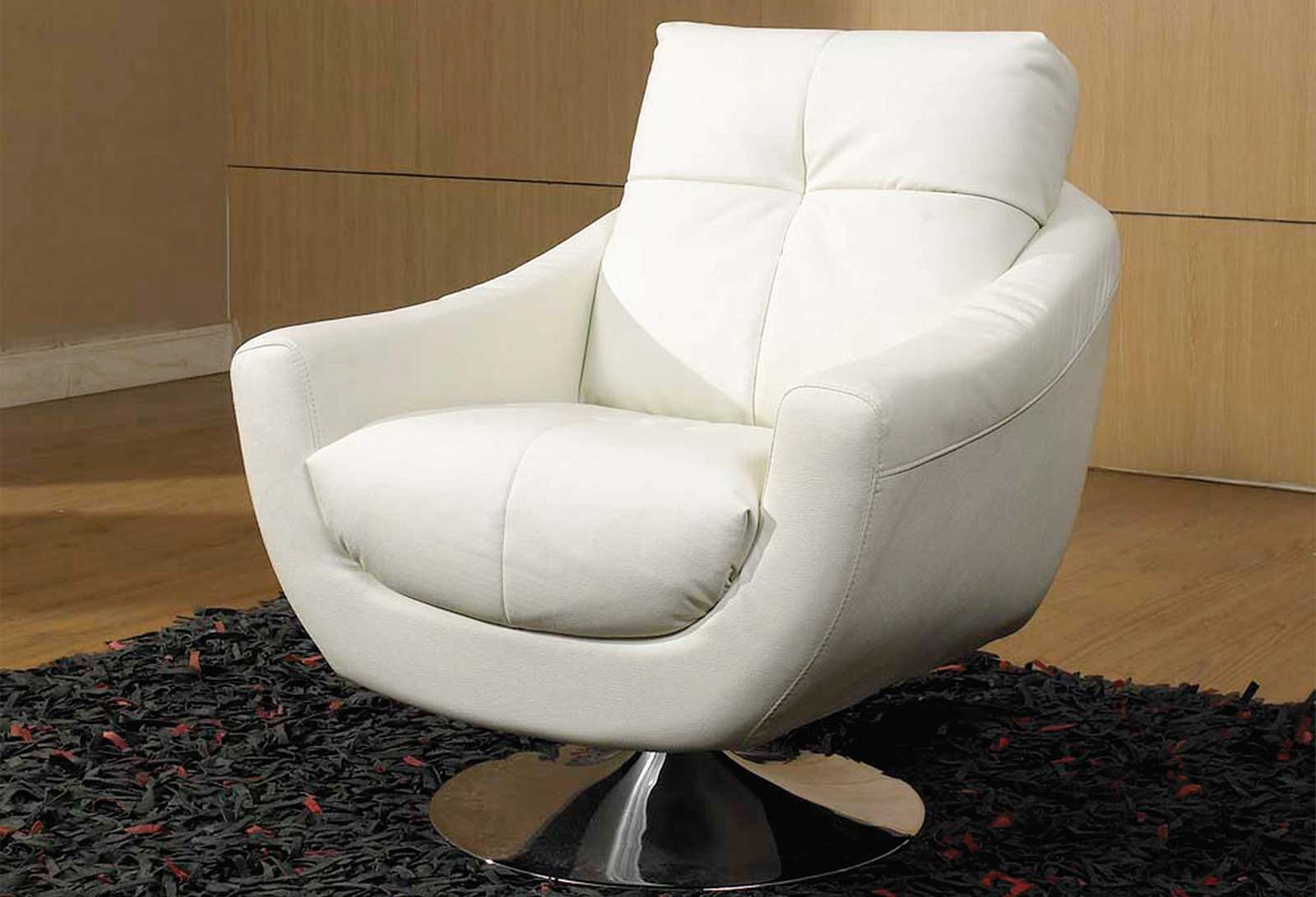 White Modern Chair Leather Swivel Chairs For Home Office User
