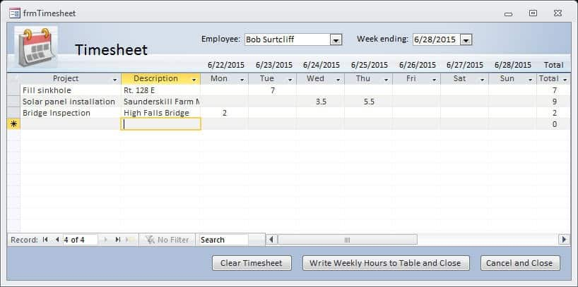 Advanced Timesheet with Access - Office Watch - sample timesheet for hourly employees