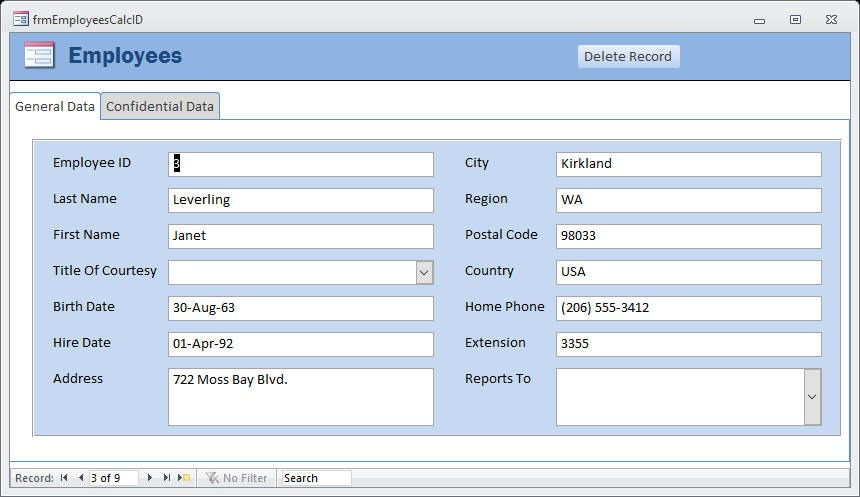 Delete Records in Linked Tables - Office Watch - employee record form