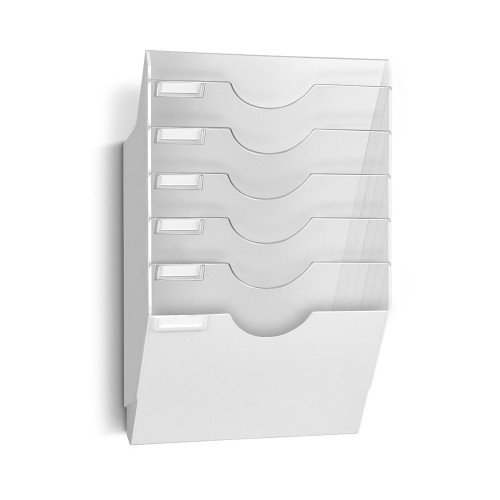 Porte Document Vertical Bannette Murale Adaptable - Présentoir Cepexpo Blanc
