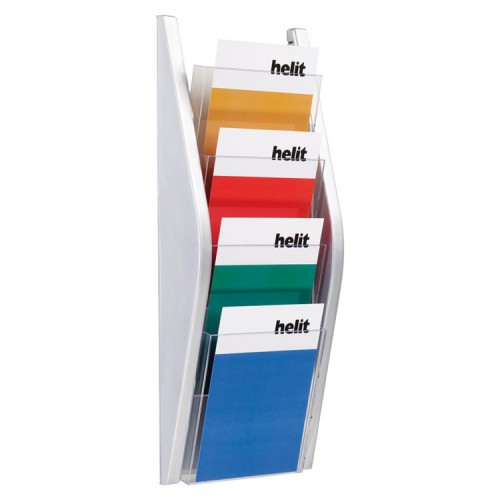 Porte Document Vertical Porte Brochure Mural - A5 Portrait - 4 Compartiments - Argent