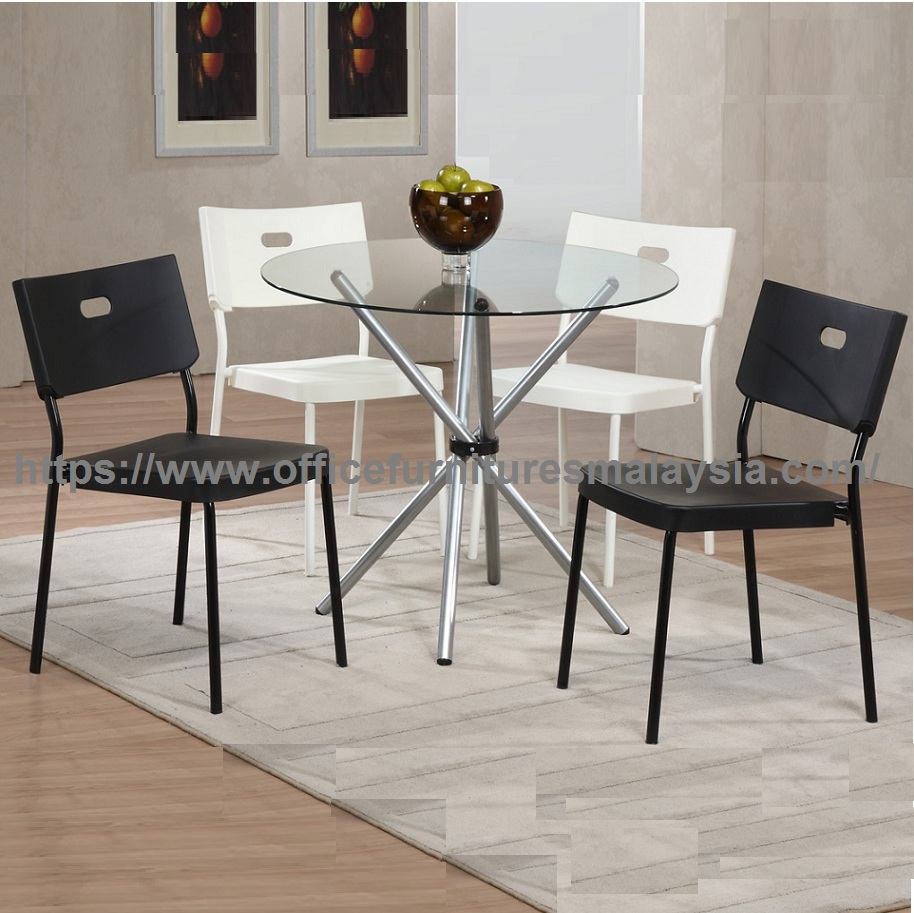 Table Polypropylène High Quality Round Glass Top Table Dining Set Ygcds 8479t8978c