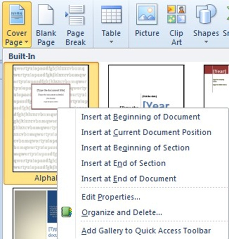 How To Add A Cover Page in Word 2010 officesmart