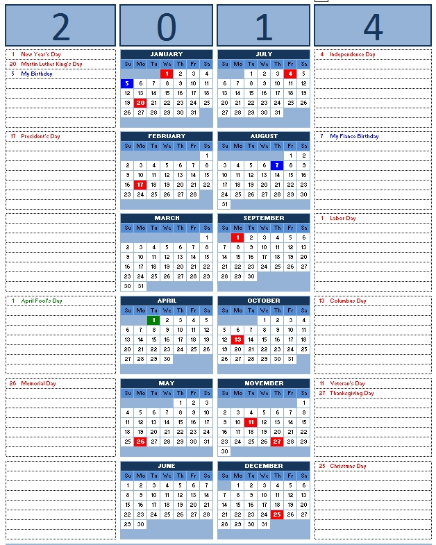 Calendar Notes Template Colbro
