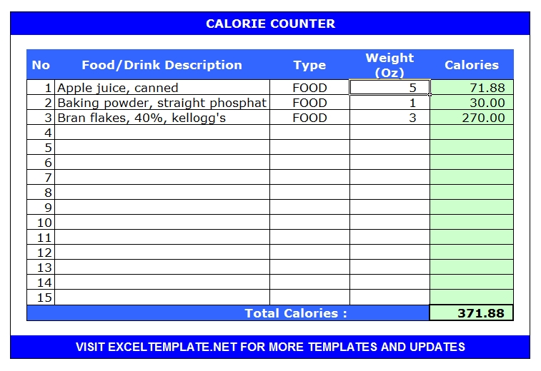 Calorie Calculators Microsoft and Open Office Templates