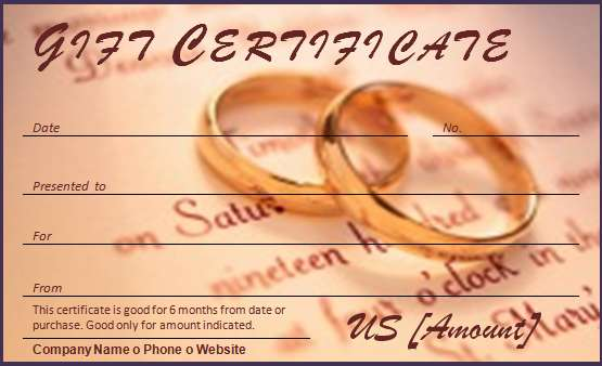 Wedding Gift Certificate Ideas Choice Image - Wedding Decoration Ideas