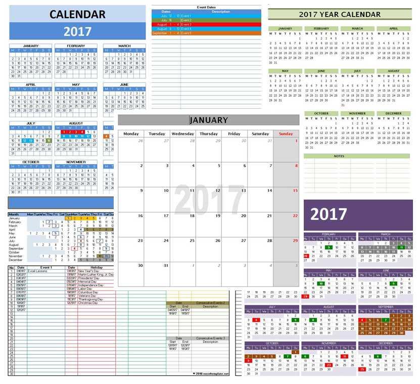 2017 Calendar Templates Microsoft and Open Office Templates