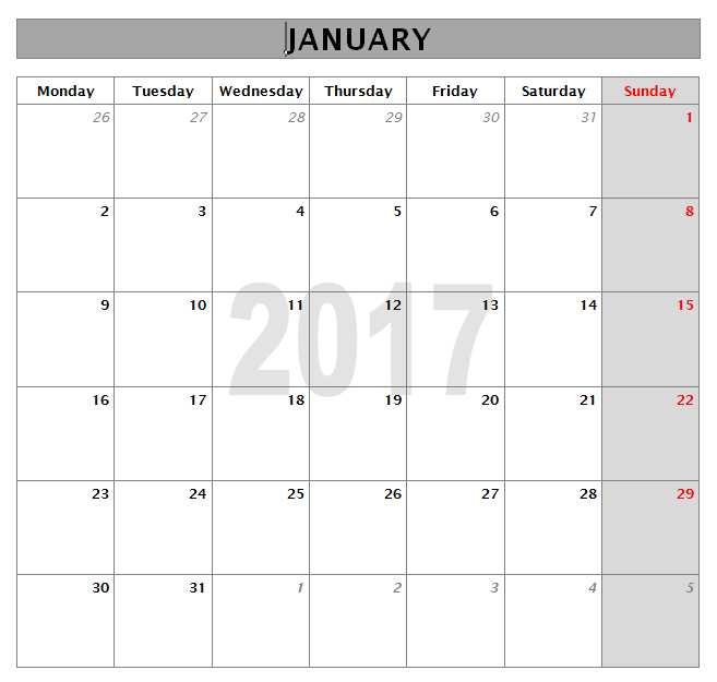 2017 Calendar Templates Microsoft and Open Office Templates