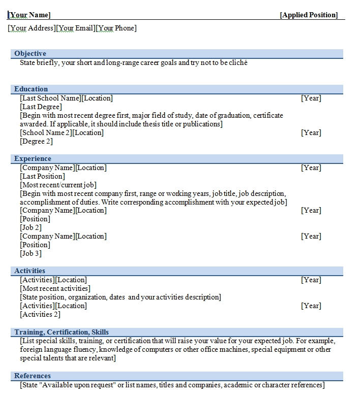 Free Resume Templates For Microsoft Word The Balance Free Chronological Resume Template