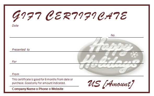Free Holiday Gift Certificates Template - Travel Gift Certificate Template Free