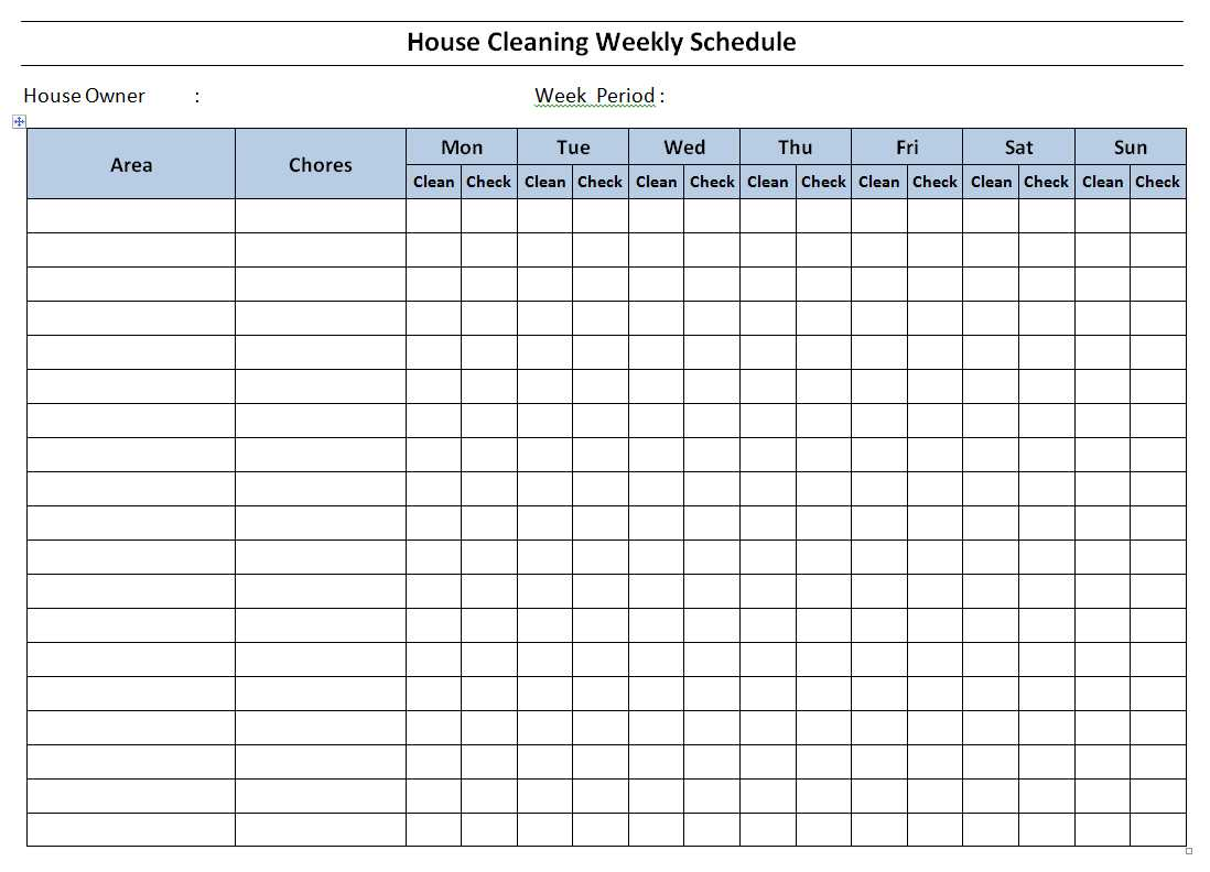 Printable Schedule Templates In Word And Open Office Format Free House Cleaning Schedule Template