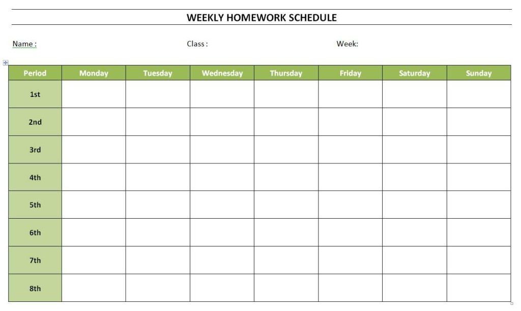 week work schedule template