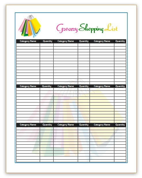 7 Shopping List Templates Office Templates Online - grocery list template word