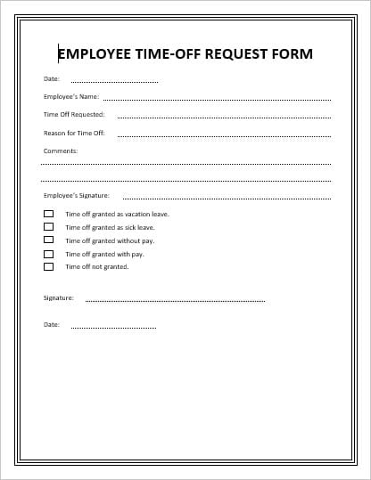 day off request form spintel - time off request forms