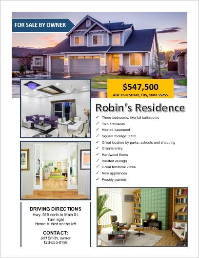 FSBO - For Sale By Owner Flyer Office Templates Online