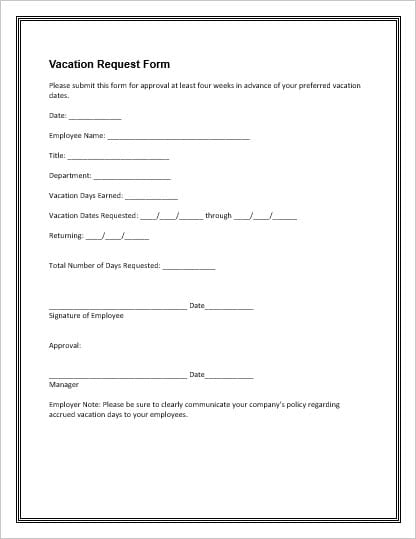 Employee Vacation/Leave Request and PTO Forms Office Templates Online