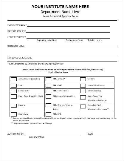 Employee Absence Form Template  BesikEightyCo