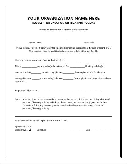 Employee Leave Request Form Template - leave request form template
