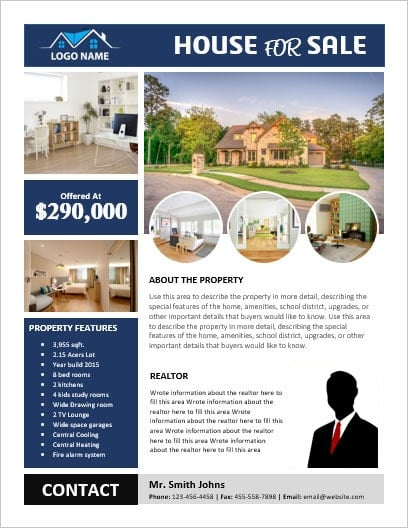 MS Word House for Sale Flyer with Pictures Office Templates Online - ms word for sale
