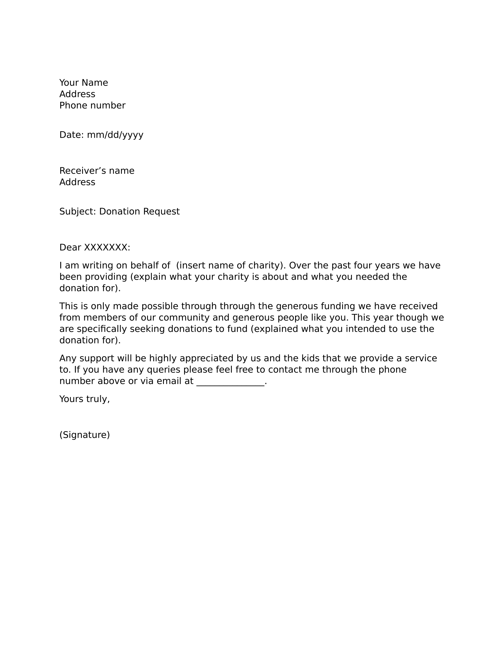 sample of letter of solicitation for donation
