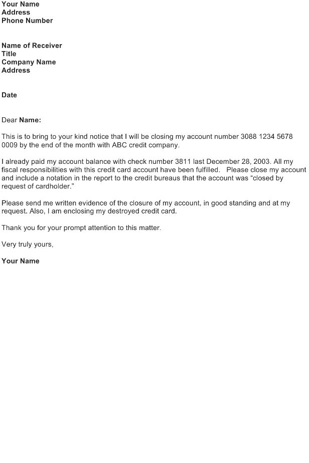 Sample Letter Of Credit Card Cancellation