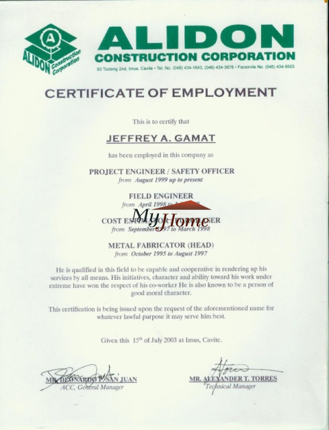 sample certificate of employment and compensation