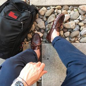 Pausing to enjoy the morning sun cobblerunion Barcelona drivingshoes inhellip
